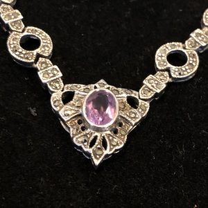 Jewelry - Stunning Art Deco silver and amethyst necklace